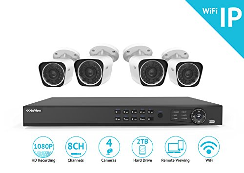 LaView 1080P Wi-Fi Wireless Security Camera System – 8 Channel IP NVR with 2TB HDD, 4 2MP Wifi Bullet Indoor/Outdoor, 100ft Night Vision Surveillance System
