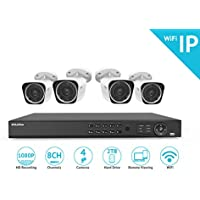 LaView 1080P Wi-Fi Wireless Security Camera System - 8 Channel IP NVR with 2TB HDD, 4 2MP Wifi Bullet Indoor/Outdoor, 100ft Night Vision Surveillance System