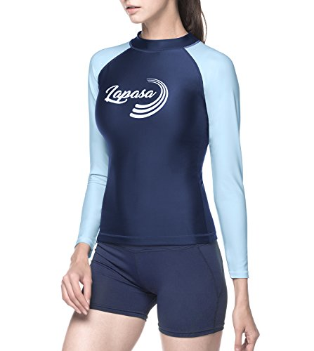 Lapasa Women's Long Sleeve Rash Guard Surf Swim Shirt Sun Protection UPF 50+ High Crew Neck Rashguard L27 (Purple&Blue, - Guard Sleeve Long Rash Crew