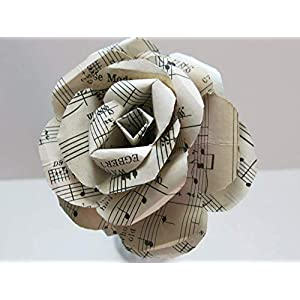 4, 5 Or 8 Inch Giant Vintage Sheet Music Paper Rose on Stem, Sculpted Flower, Large Single Bloom, Music Theme Party Decor Band 65