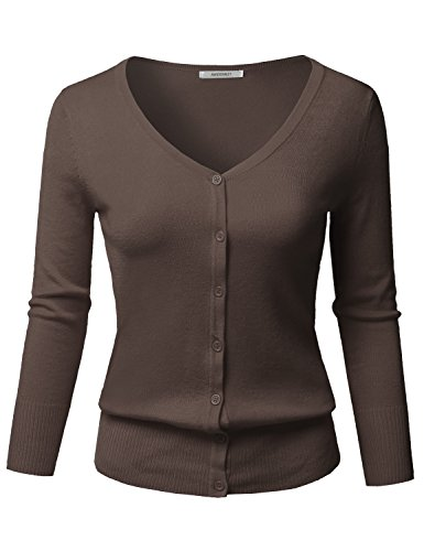 Awesome21 Solid Button Down V-Neck 3/4 Sleeves Knit Cardigan Coffee Size L