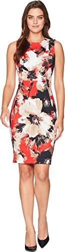 Calvin Klein Women's Floral Print Sheath Dress CD8MV5LM Fire Multi (Fire Floral Print Dress)