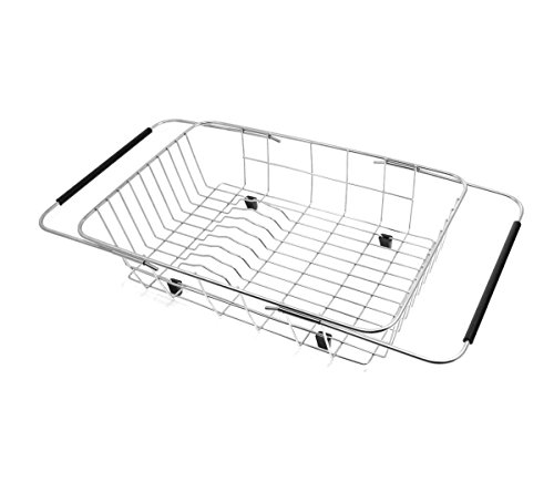 GTHUNDER Expandable Dish Drying Rack Dish Drainer, Over the Sink, In Sink Or On Counter Organizer with Adjustable Arma - 304 Stainless Steel Rustproof