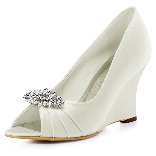 Elegantpark Flower Avorio con Shoes Diamond zeppa con Décolleté Wp1547 Party Mobile Satin Af01 zeppa Jewel rxfvr4wU