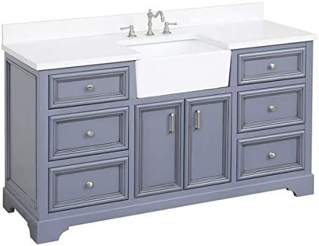 Amazon Com Zelda 60 Inch Single Bathroom Vanity Quartz Powder Gray Includes Charcoal Gray Cabinet With Stunning Quartz Countertop And White Ceramic Farmhouse Apron Sink Kitchen Dining