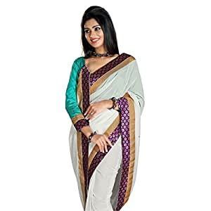 Shilp-Kala Faux Georgette Border Worked Off White Colored Sarees SKPODC90