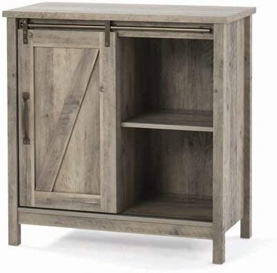 Homes Gardens Modern Farmhouse Accent Storage Cabinet, Rustic Gray Finish