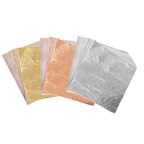 300 Sheets Imitation Golden Silver Rose Color Leaf,Foil Paper for Arts, Gilding Crafting, Decoration,Frames, Furniture 5.5 by 5.5 Inches