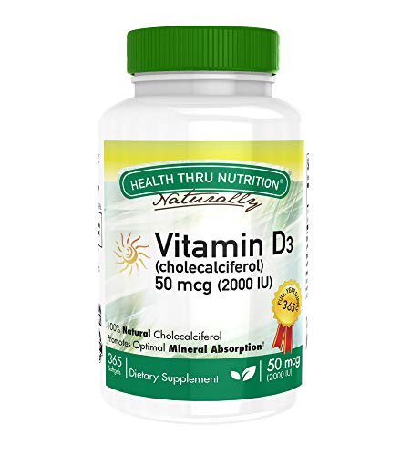 Vitamin D3 2000 IU, 365 Softgels, Soy-Free, Natural Vitamin D