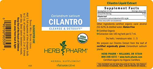 Herb Pharm Certified Organic Cilantro Liquid Extract for Cleansing and Detoxification Support - 4 Ounce by Herb Pharm (Image #5)