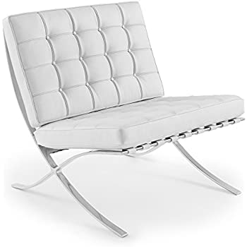 Set Of 2 Barcelona Chairs In WHITE Leather High Quality Chair Replica Of  Mies Van Der