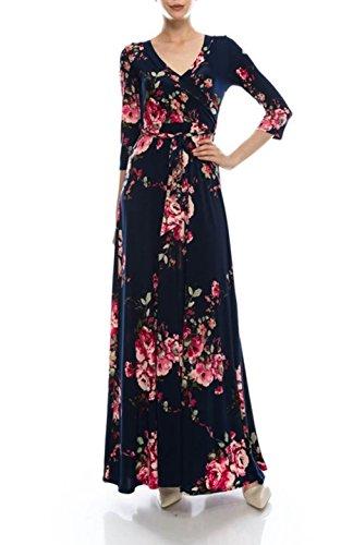 Bon Navy V Wrap Maxi Printed Bohemian Neck Sleeve 4 Rosy Dress 3 Pink2 Women's qnxCRaq
