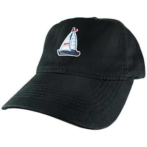 (AffinityAddOns Sailboat Dad Hat, Black Baseball Cap, Embroidered Patch)