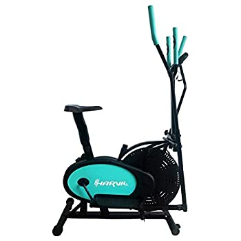 Image of Harvil Elliptical Cross Trainer and Exercise Bike 2 in 1 with Pulse Rate Sensor Grips and Tension Adjustment System Cardio Training