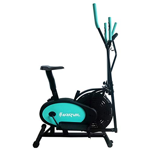 Harvil Elliptical Cross Trainer and Exercise Bike 2 in 1 with Pulse Rate Sensor Grips and Tension Adjustment System