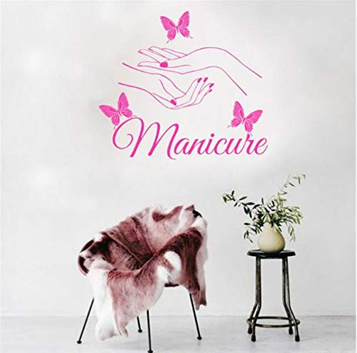 LSFHB 45X56Cm Vinyl Wall Sticker Beauty Nail Art Manicure Wall Stickers Butterfly Wall Decal for Bathroom Salon Kids Room Home -