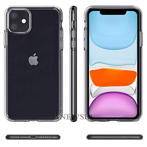 ANEWSIR for iPhone 11 6.1 inch 2019 Screen Protector+Transparent case【HD Clear】【Case-Friendly】【Easy to install】【No Bubbles】 for iPhone 11 6.1 inch 2019 Tempered glass protective film(2pcs)+case