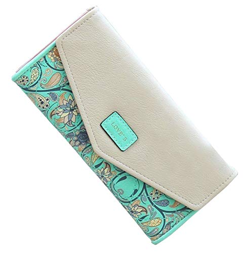 SeptCity Womens Wallet Floral Leather Western Bifold Clutch-Green ()