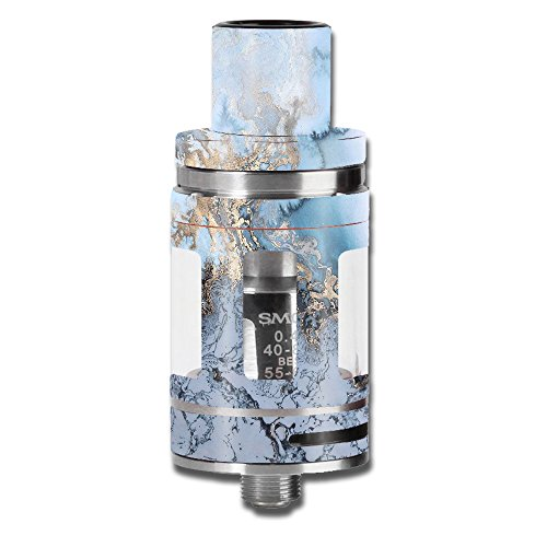Skin Decal Vinyl Wrap for Smok Micro TFV8 Baby Beast Tank Vape Mod Skins Stickers Cover / Blue Gold Grey Marble Pattern Clouds