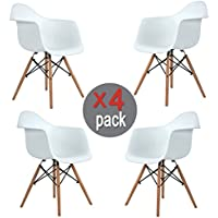 Ihouse 4 PCS Dining Chairs With Wood Assembled Legs Armrest for indoor outdoor (White)