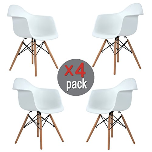 Aingoo Eiffel Kitchen Chair Molded Dining Armchair Mid Century Plastic Side Chair Dowel Wood Eiffel Legs for Dining Room Office Lightweight Easy Assembly White