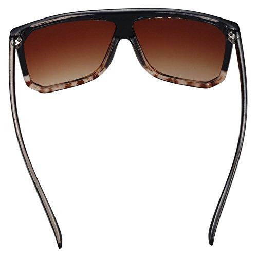 de Moda Mujer de los sol SODIAL Gafas de y las Gafas de mujeres sol Leopard Top la hombres Flat Lop gran Negro de vendimia tamano de Top S17027 RzrfaOzcv
