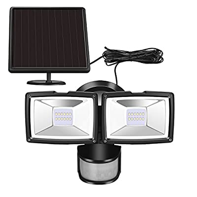 Solar Motion Sensor Security Light-SUNWIND 1000 Lumens Solar Flood Lights Outdoor with Adjustable Dual Heads Waterproof for Backyard, Outside Shed, Garage, Entryways