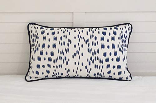 Athena Bacon Special Order for Emilee Brunschwig and Fils Les Touches Blue Animal Print Designer Pillowcase Cover with Navy Piping 21x13