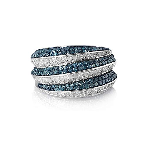 Ornaatis 2.00 Cttw Round Cut White and Blue Natural Diamond Cocktail Engagement Band Ring Sterling Silver Size 8