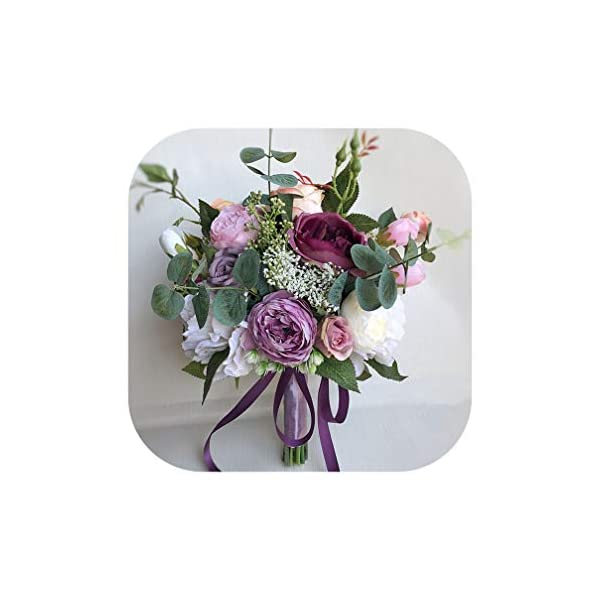 Lilac Purple Peony Wedding Flowers Bridal Bouquet Vintage Artificial Silk Rose Bride Bouquet Holder Wedding Brooch,Purple