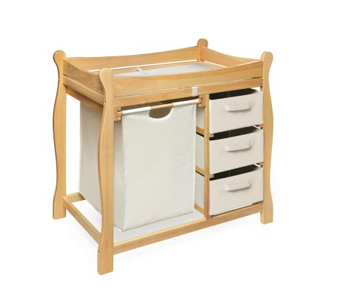 Badger Basket Sleigh Style Changing Table with Hamper/3 Baskets, Natural - Natural Changing Table