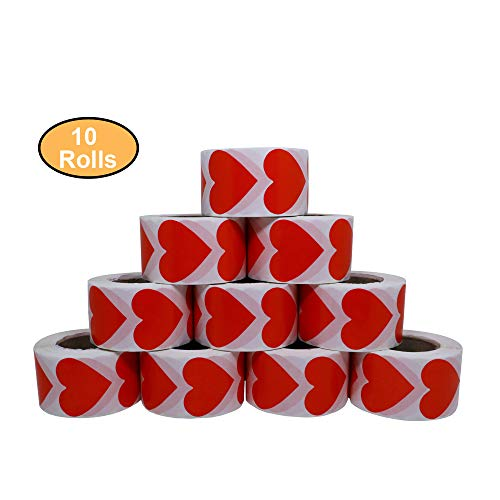 Aleplay Red Love Heart Stickers Color Coding Dot Valentine's Day Crafting Scrapbooking Adhesive Label 500 per Roll(Red-38mm, 10 Rolls) ()