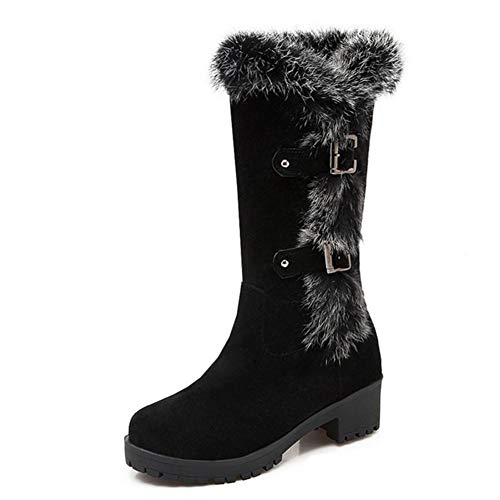 DETAIWIN Womens Mid Calf Snow Boots Low Heel Wedge Heel Flats Slip on Sneakers Warm Fur Winter Boot with Buckle