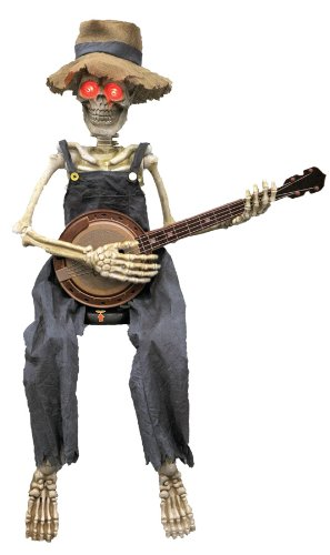 UHC Scary Animated Skeleton Playing Banjo Horror Party Decoration Halloween Prop]()
