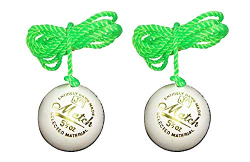 PSE Priya Sports Leather N1 Practice Hanging Cricket Ball  White, Standard Size, Pack of 2