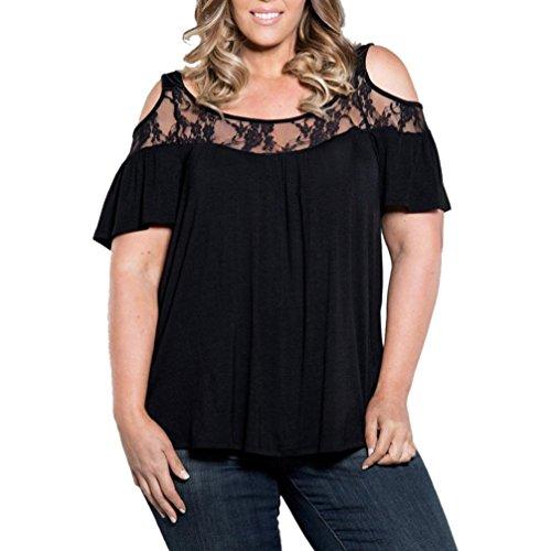 5c9336b819d Pengy Plus Size Women Loose Lace Shirt Blouse Tops