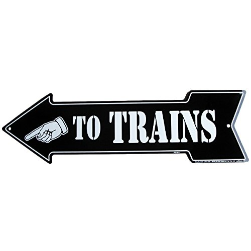 (TO TRAINS arrow - Model Train Room Tin Wall Sign or Plaque)