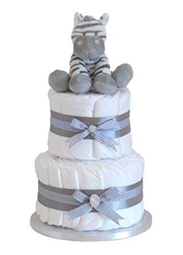 Signature Unisex Neutral Two Tier Nappy Cake Baby Shower Newborn Gift with Zebra Teddy/FAST DISPATCH Pitter Patter Baby Gifts