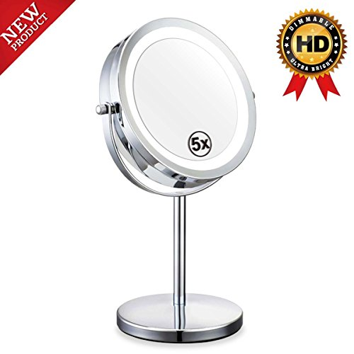Double Sided Lighted Mirror - 7in LED Makeup Mirror With Lights,1x/5x Magnifying Vanity Mirror With Stand,Round Cosmetic Mirror for Bathroom or Bedroom Countertop,Desk Mirror With 360° - Lite Mirror