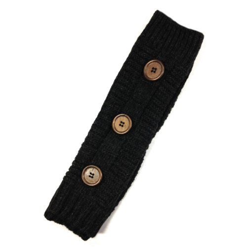 Wrapables Button Accented Knit Arm Warmers, Black