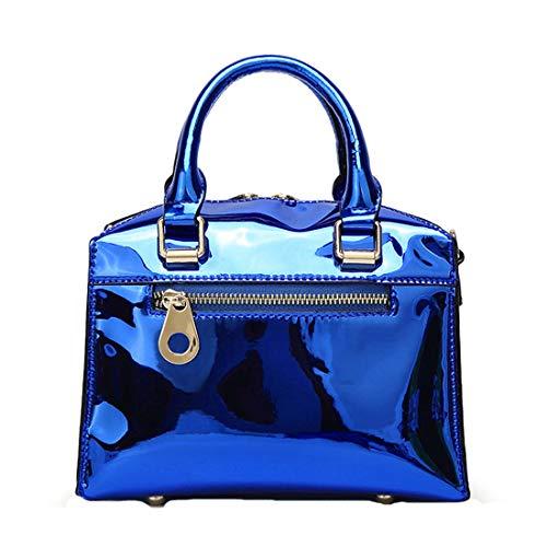 Femminile Con Cmbyn Capacità Fashion Rivetto Lucido Borsetta Borsa Estive Unicolor Blu Donna Nuovo Grande Zainetti rqrwxpnZCP