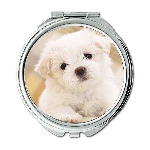 Mirror,makeup mirror,Elephant and dog cute dog,pocket mirror,1 X 2X Magnifying ()