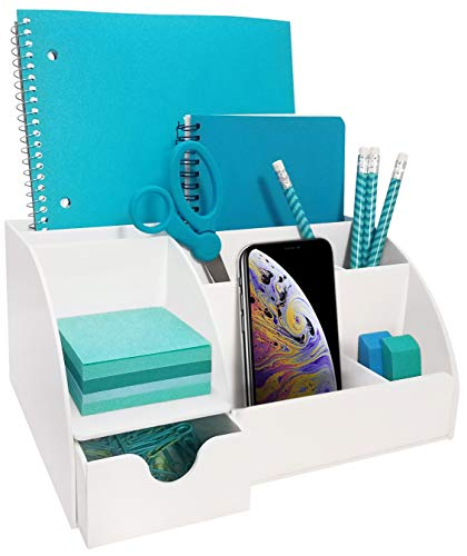 White Acrylic Office Desk Organizer with Drawer, 9 Compartments, All in One Office Supplies and Cool Desk Accessories Organizer, Pen Holder, Enhance Your Office Decor with This Desktop Organizer