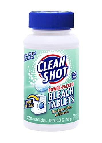 Bleach Laundry - Clean Shot Bleach Tablets - 32 Ct. Concentrated Bleach for Laundry, Kitchen, Bathroom - Fresh Linen Scent