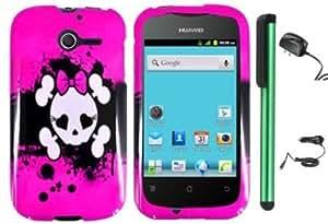 Cerhinu Huawei Ascend Y M866 - Pink Black Heart Love Eye Cute Skull Premium Design Protector Hard Cover Case (U.S. Cellular...