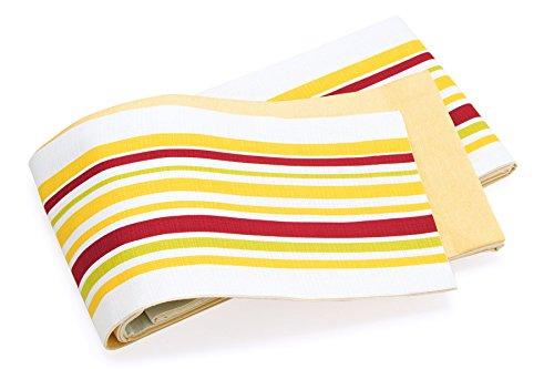 慣らすパントリー戦略半幅帯 un deux アンドゥ カラフル系 カラフル系 白 ホワイト 黄色 イエロー 赤 黄緑 ストライプ 縞 染め 綿 コットン リバーシブル カジュアル 女性用 レディース 細帯 半巾帯 仕立て上がり