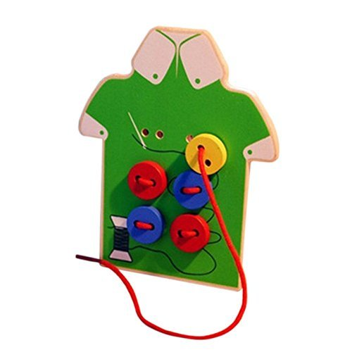 Children's Educational Toys, Estore Kids Toddler Teaching Puzzle Play Sew On Buttons Lacing Board Wooden Toys Green