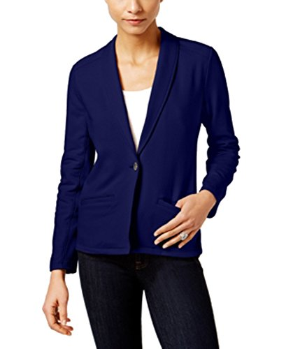 - Style & Co. Petite French-Terry Blazer (Industrial Blue, PL)