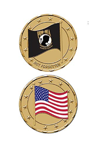 (POW MIA with American Flag Challenge Coin. Made in USA)