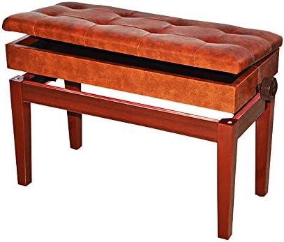 快適で耐久性のある2人アジャスタブルピアノベンチ楽器練習用ソリッドウッド肥厚チェア付きストレージ本棚 快適でエレガントなスタイル (Color : Brown, Size : 75x33x56cm)